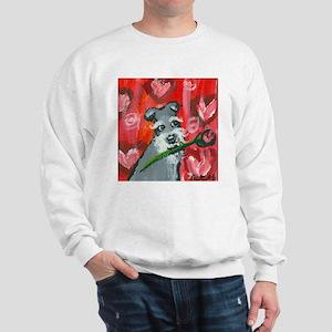 Schnauzer Valentine Rose hear Sweatshirt