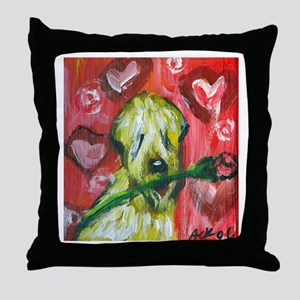SOFT COATED WHEATEN TERRIER v Throw Pillow