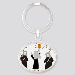 Nuns and Beer Thoughts Oval Keychain