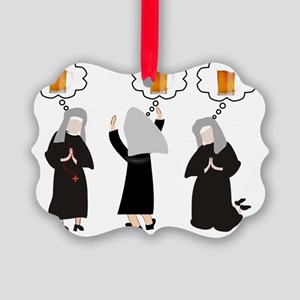 Nuns and Beer Thoughts Picture Ornament