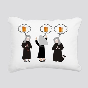 Nuns and Beer Thoughts Rectangular Canvas Pillow