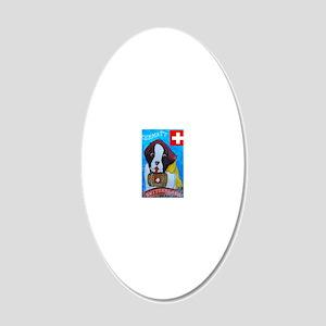St Bernard card 20x12 Oval Wall Decal