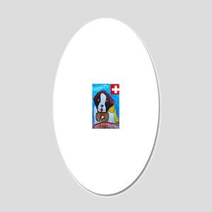 St Bernard frame 20x12 Oval Wall Decal