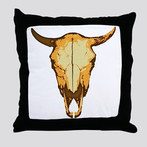 COW SKULL - colored Throw Pillow