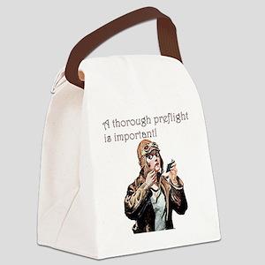 thorough preflight pink Canvas Lunch Bag