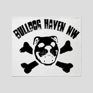 BulldogSkull_wBHNW_FULLSIZE_black Throw Blanket