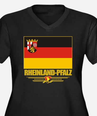 Rheinland-Pf Women's Plus Size Dark V-Neck T-Shirt