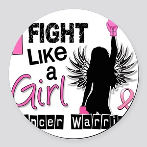 Fight Like A Girl Breast Cancer 2 Round Car Magnet