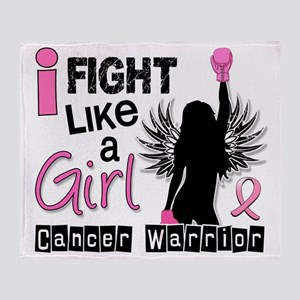 Fight Like A Girl Breast Cancer 26.2 Throw Blanket
