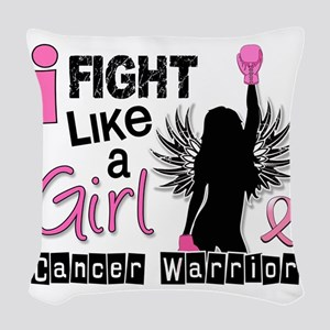 Fight Like A Girl Breast Cance Woven Throw Pillow