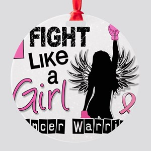 Fight Like A Girl Breast Cancer 26. Round Ornament