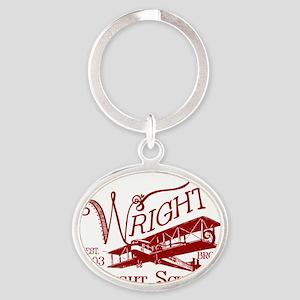 FlightSchoolCrimson Oval Keychain