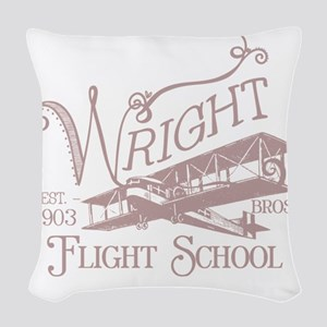 FlightSchoolWashedOutRed Woven Throw Pillow