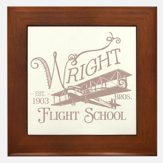 FlightSchoolWashedOutRed Framed Tile