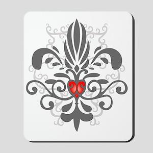 FleurHeartGrayTR Mousepad