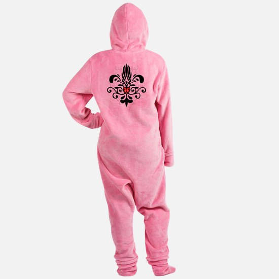 FleurHeartBlkTR Footed Pajamas