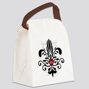 FleurHeartBlkTR Canvas Lunch Bag