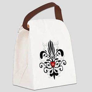FleurHeartBlkTR Canvas Lunch Bag