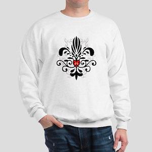 FleurHeartBlkTR Sweatshirt