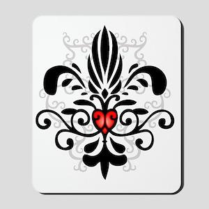 FleurHeartBlkTR Mousepad