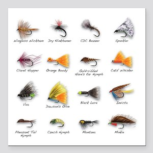 "Flies Square Car Magnet 3"" x 3"""