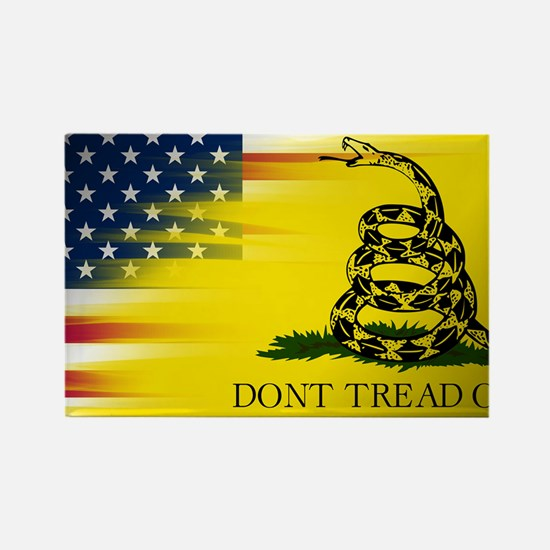 American and Gadsden Flag Rectangle Magnet