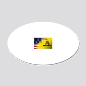 American and Gadsden Flag 20x12 Oval Wall Decal
