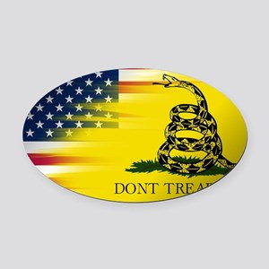 American and Gadsden Flag Oval Car Magnet