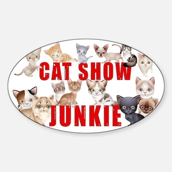cat show junkie large car magnet Sticker (Oval)