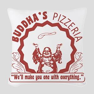 Buddhaspizza Woven Throw Pillow