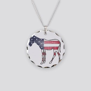 donkey-american-flag Necklace Circle Charm
