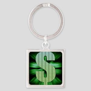 Dollar Sign Square Keychain