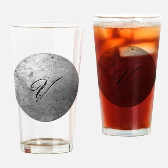 MetalSilvVneckTR Drinking Glass