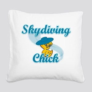 Skydiving Chick #3 Square Canvas Pillow