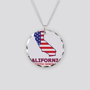 california_state_flag_map2 Necklace Circle Charm
