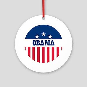 Obama Stars and Stripes - Button Round Ornament