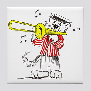 Trombone in color TRANS BACKG Tile Coaster