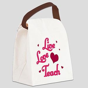 Live Love Teach Pink copy Canvas Lunch Bag