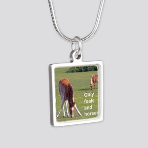 Only foals and horses Silver Square Necklace