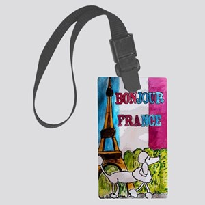 bonjour card Large Luggage Tag