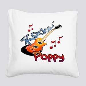 ROCKIN POPPY Square Canvas Pillow