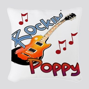 ROCKIN POPPY Woven Throw Pillow