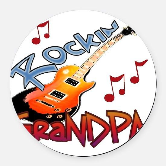 ROCKIN GRANDPA Round Car Magnet