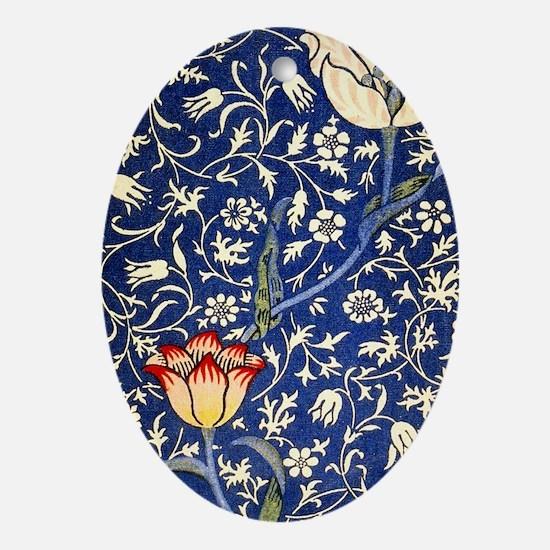 443 BlueFloral Oval Ornament