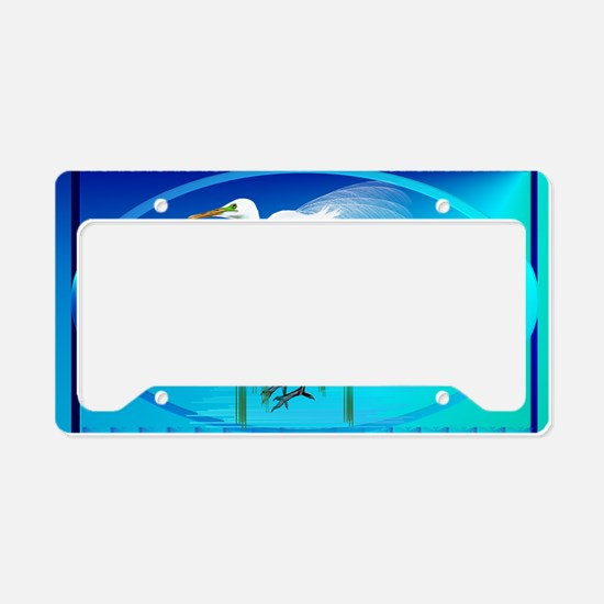 Wall Peels Great Egret Oval License Plate Holder