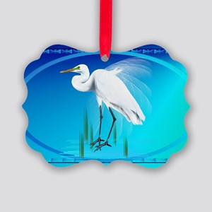 Wall Peels Great Egret Oval Picture Ornament