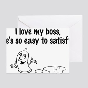 my boss is easy Greeting Card