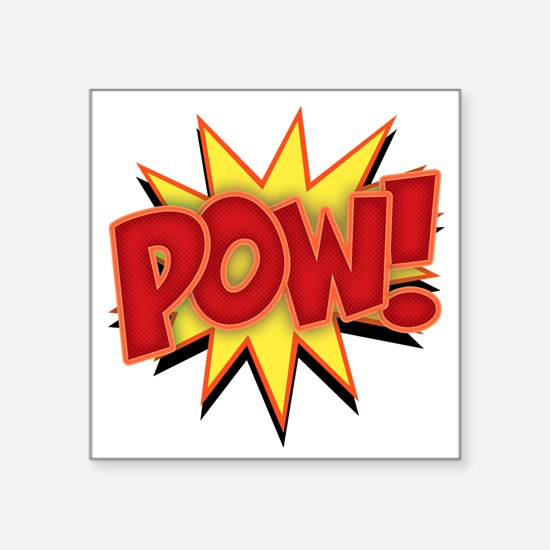 "pow-bang-T Square Sticker 3"" x 3"""