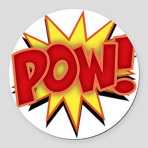 pow-bang-T Round Car Magnet