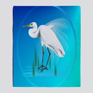 ornament_ovalGreat Egret Throw Blanket